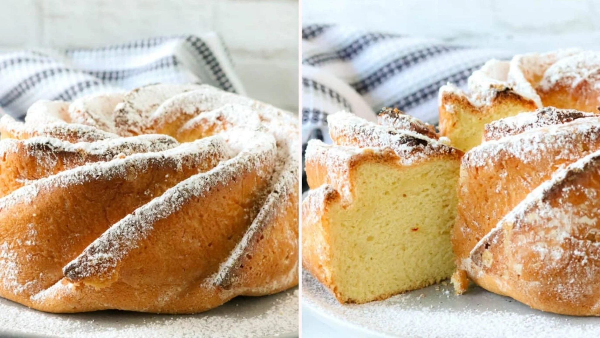 Two images of saffron cake by Savory Thoughts.
