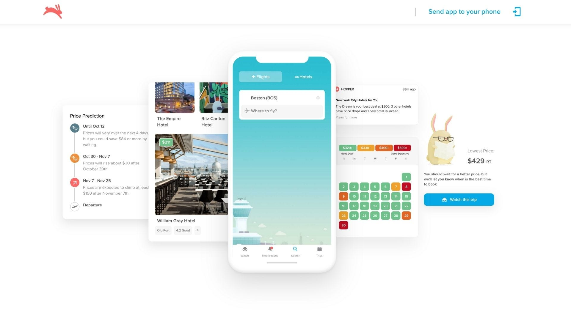 Several smartphones show features of the flight booking app Hopper.