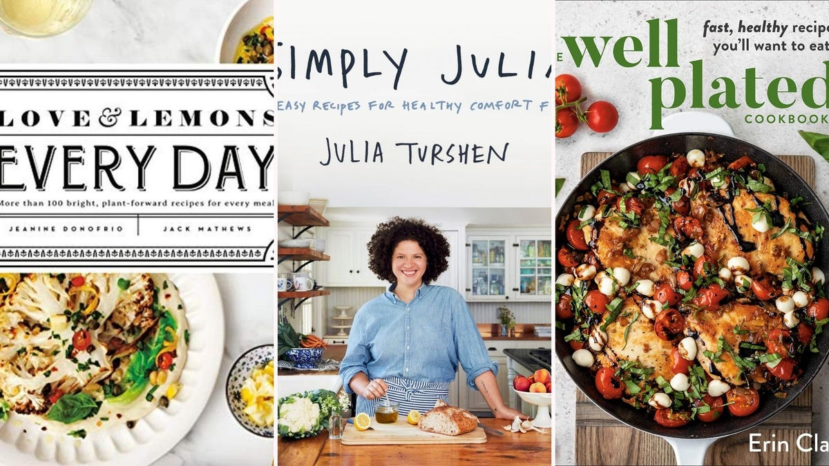 Three cookbook covers featuring colorful, veggie-filled dishes