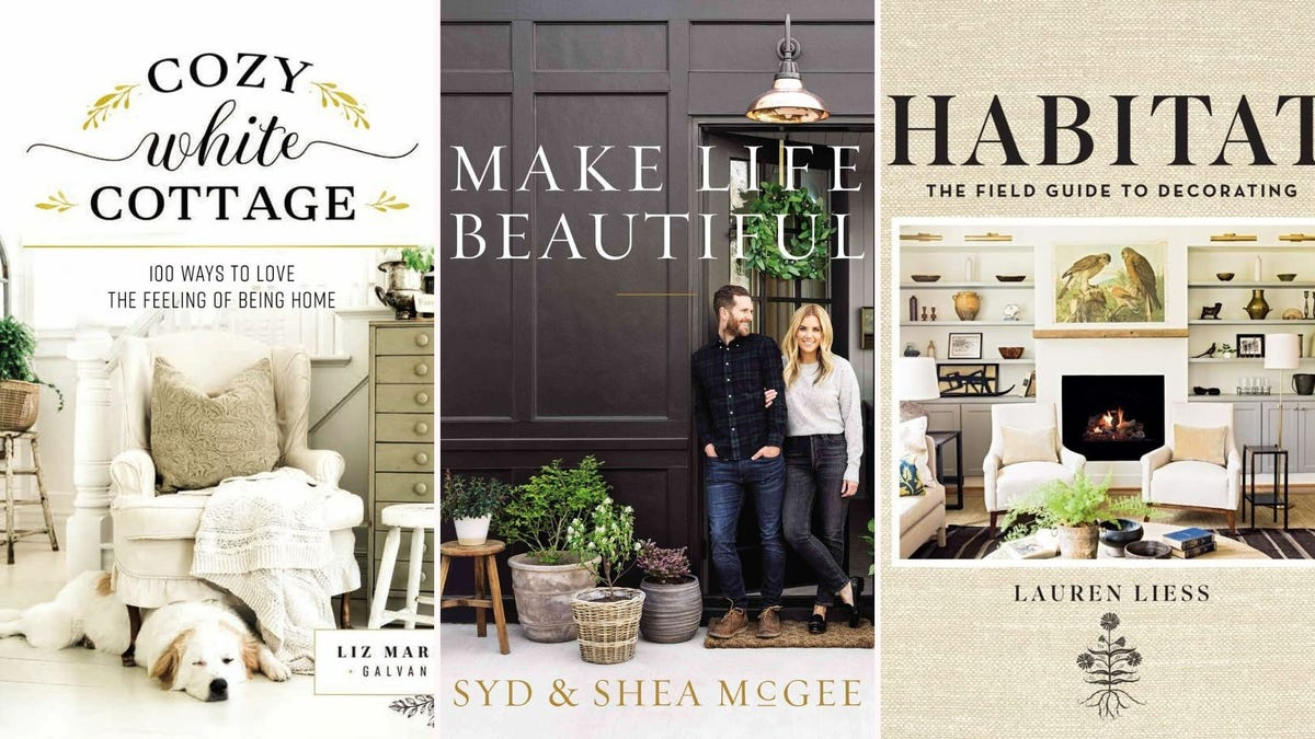 """Book covers for """"Cozy White Cottage,"""" """"Make Life Beautiful,"""" and """"Habitat"""""""