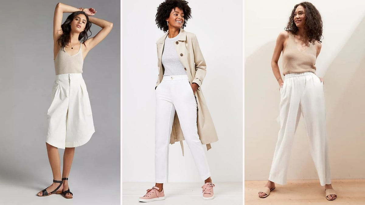 Three women wearing outfits with white pants