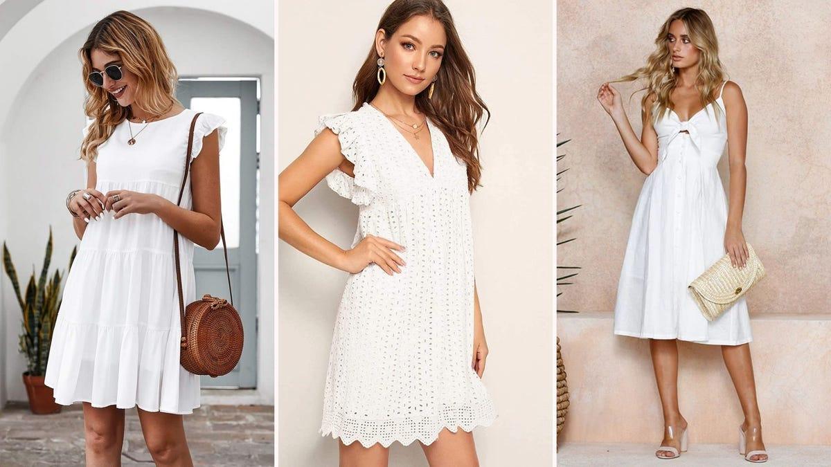 Three women wearing white dresses