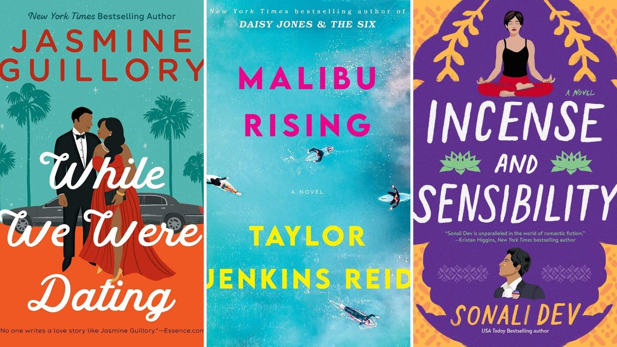 """Three book covers: """"While We Were Dating"""", """"Malibu Rising"""", """"Incense and Sensibility"""""""