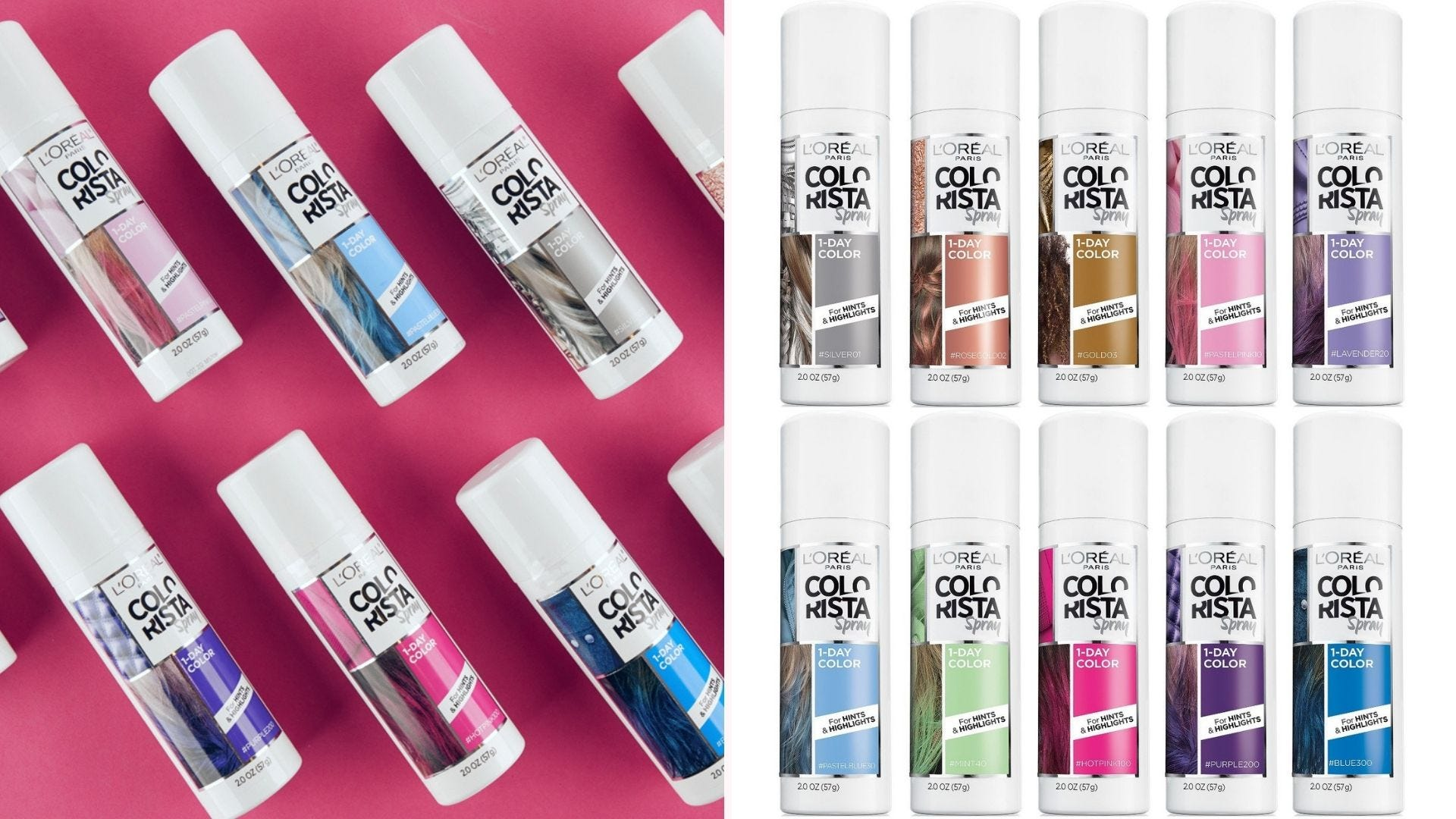 Several small bottles of Colorista One-Day Spray in various colors