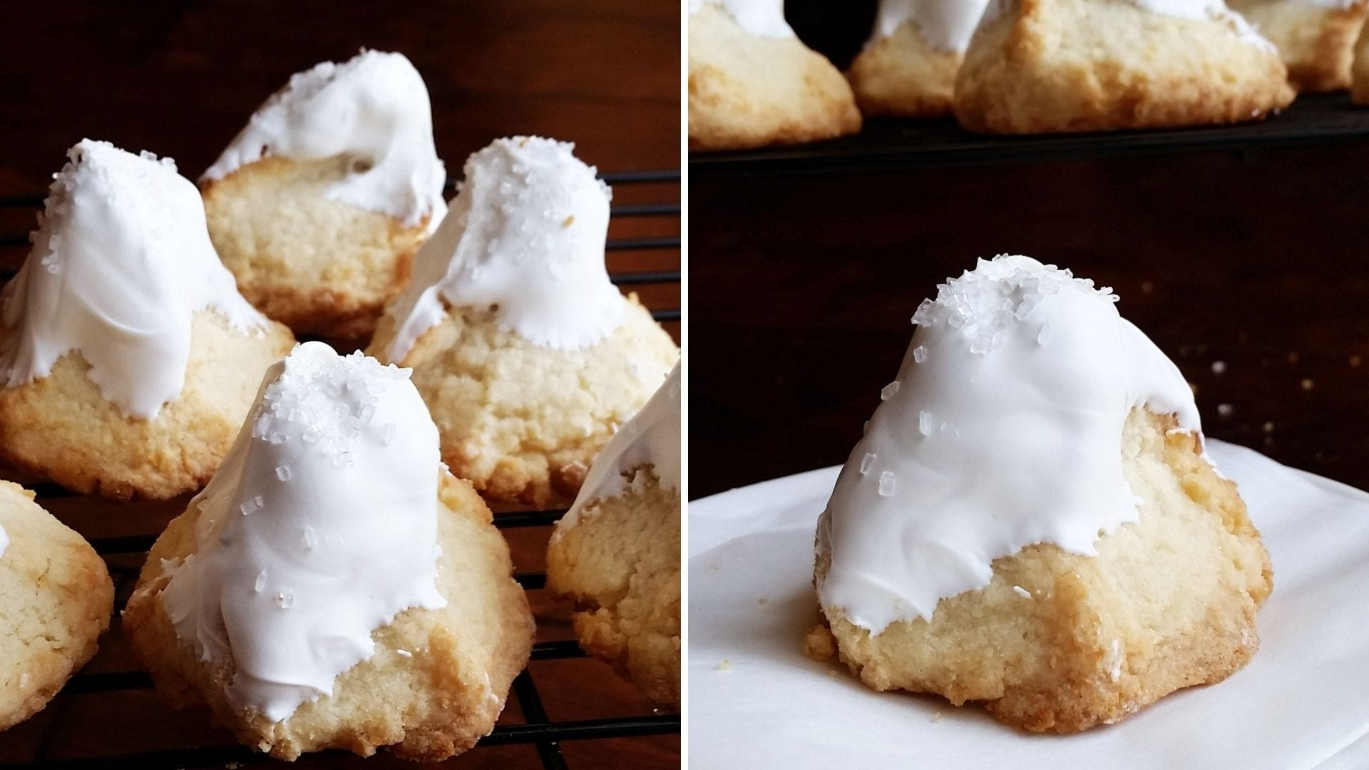 A pile of macaroon cookies shaped like mountains and coated in white chocolate