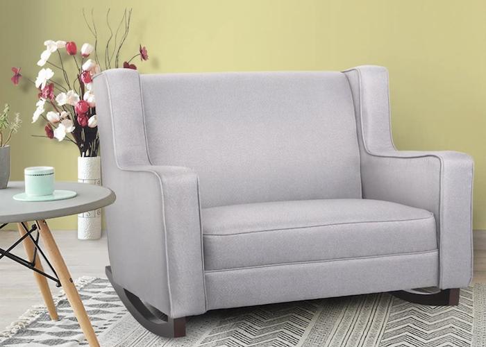 extra wide, light gray, armchair-like rocking nursing chair
