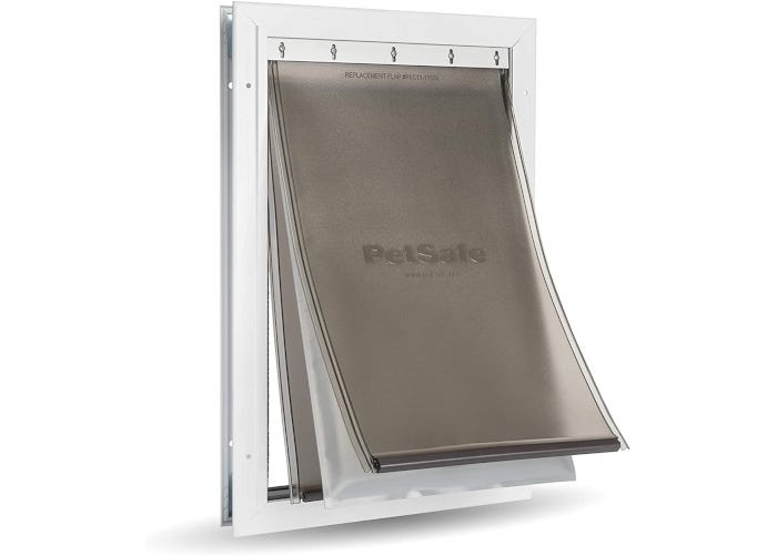 Triple-flapped dog door designed to eliminate winter drafts and withstand extreme weather