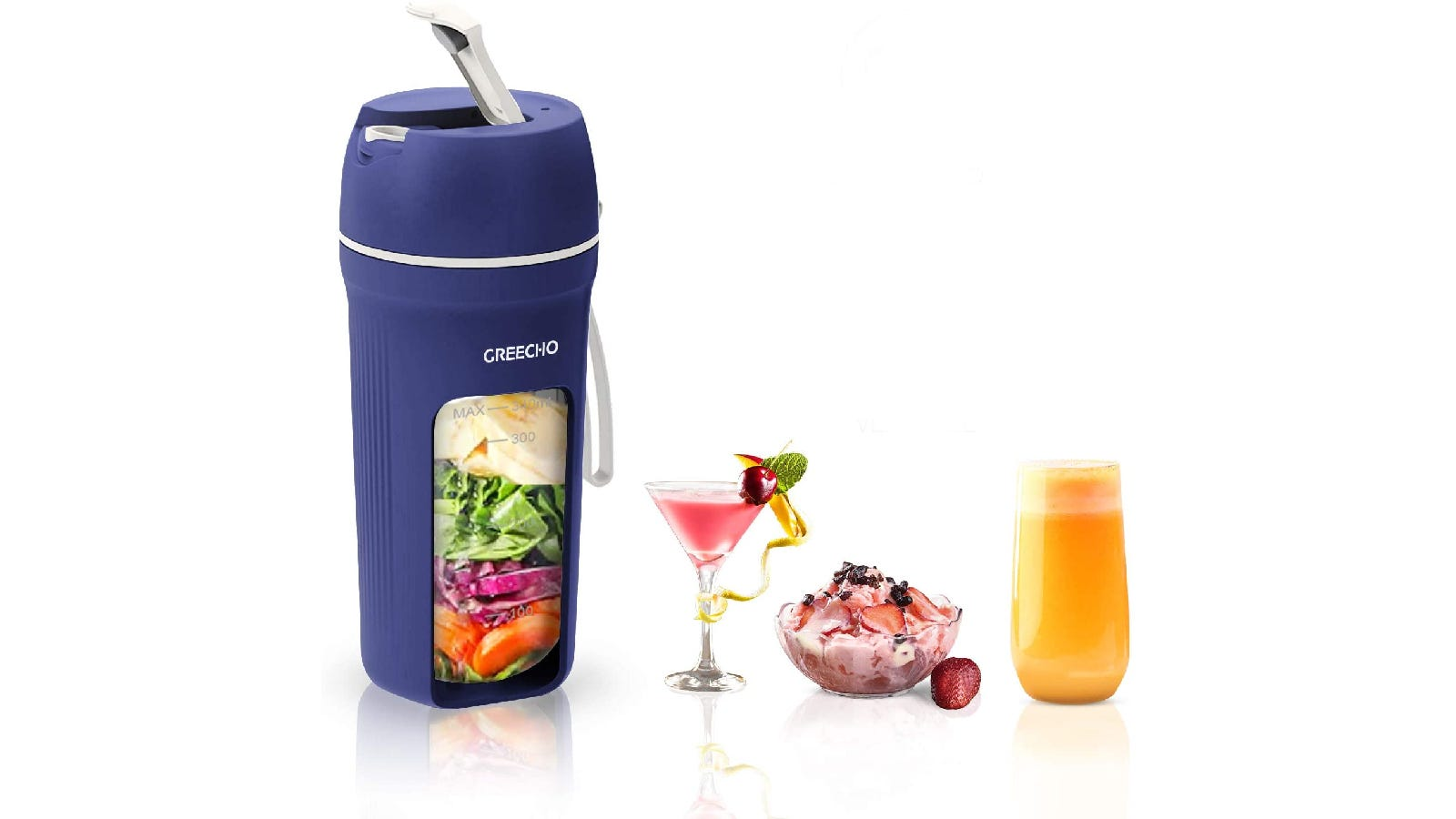 blue personal blender cup filled with veggies; lined up to the right is a blended cocktail, fruity ice cream, and an orange smoothie
