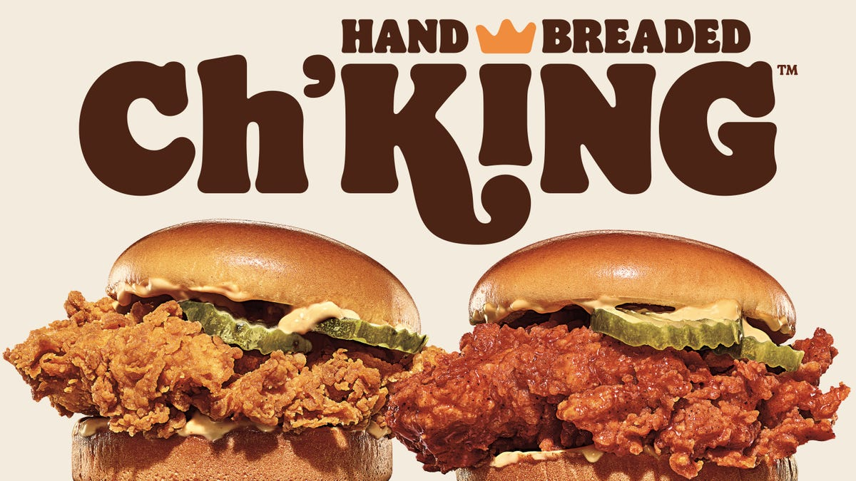 Two of Burger Kings Ch'King chicken sandwiches.