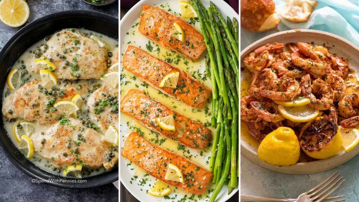 Chicken Picatta by Spend with Pennies, lemon butter salmon by Cooking Classy, and garlic lemon shrimp by RecipeTin Eats.