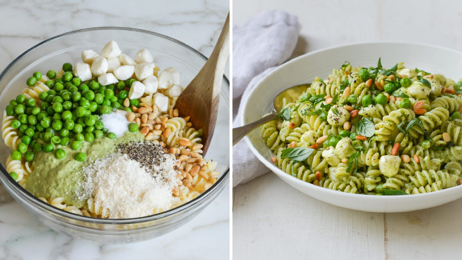 Two image: The left image is of all the ingredients for a pesto pasta salad before being mixed into a delicious pasta salad, and the right image is of pasta salad plated and ready to eat.