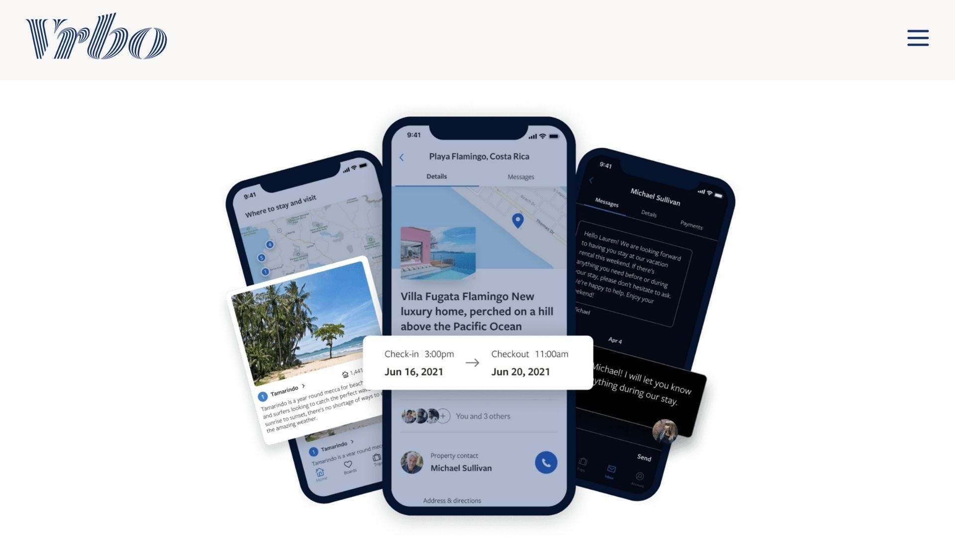 Three smartphones show the features of the VRBO app.