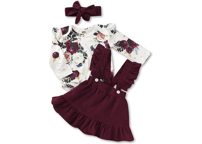 a baby maroon dress, floral shirt, and maroon headband