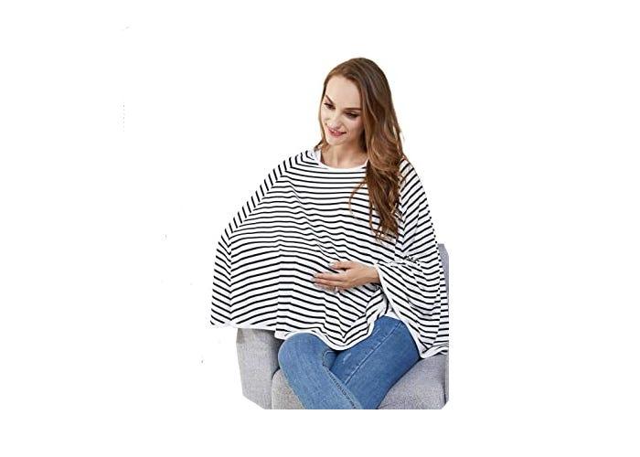 smiling mom using black and white striped nursing cover