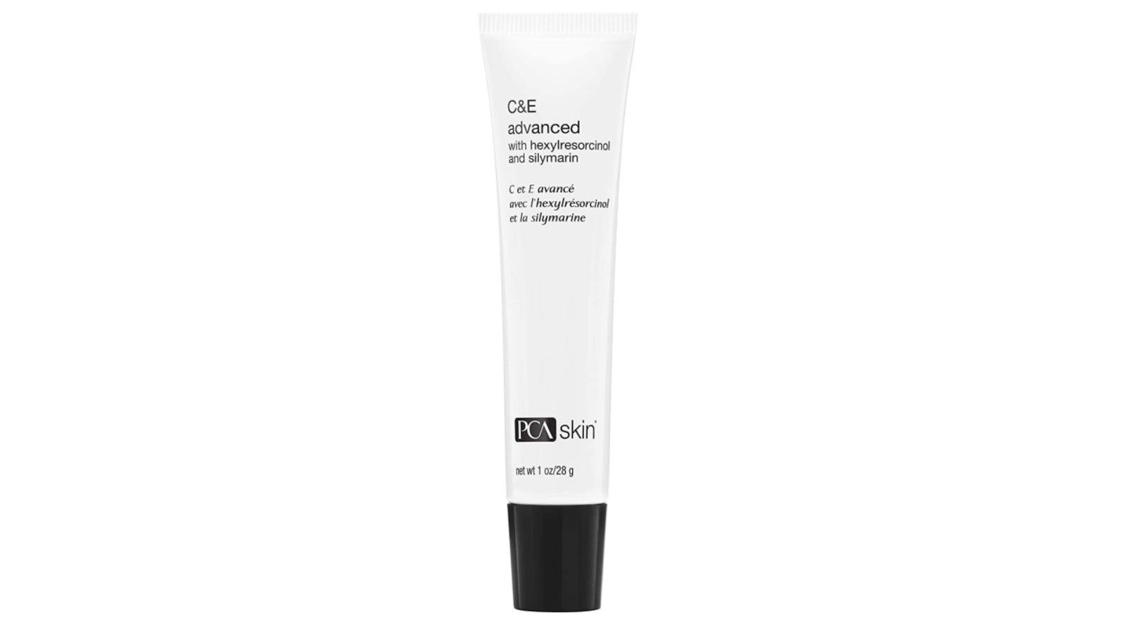 white and black tube of PCA skin vitamin C serum