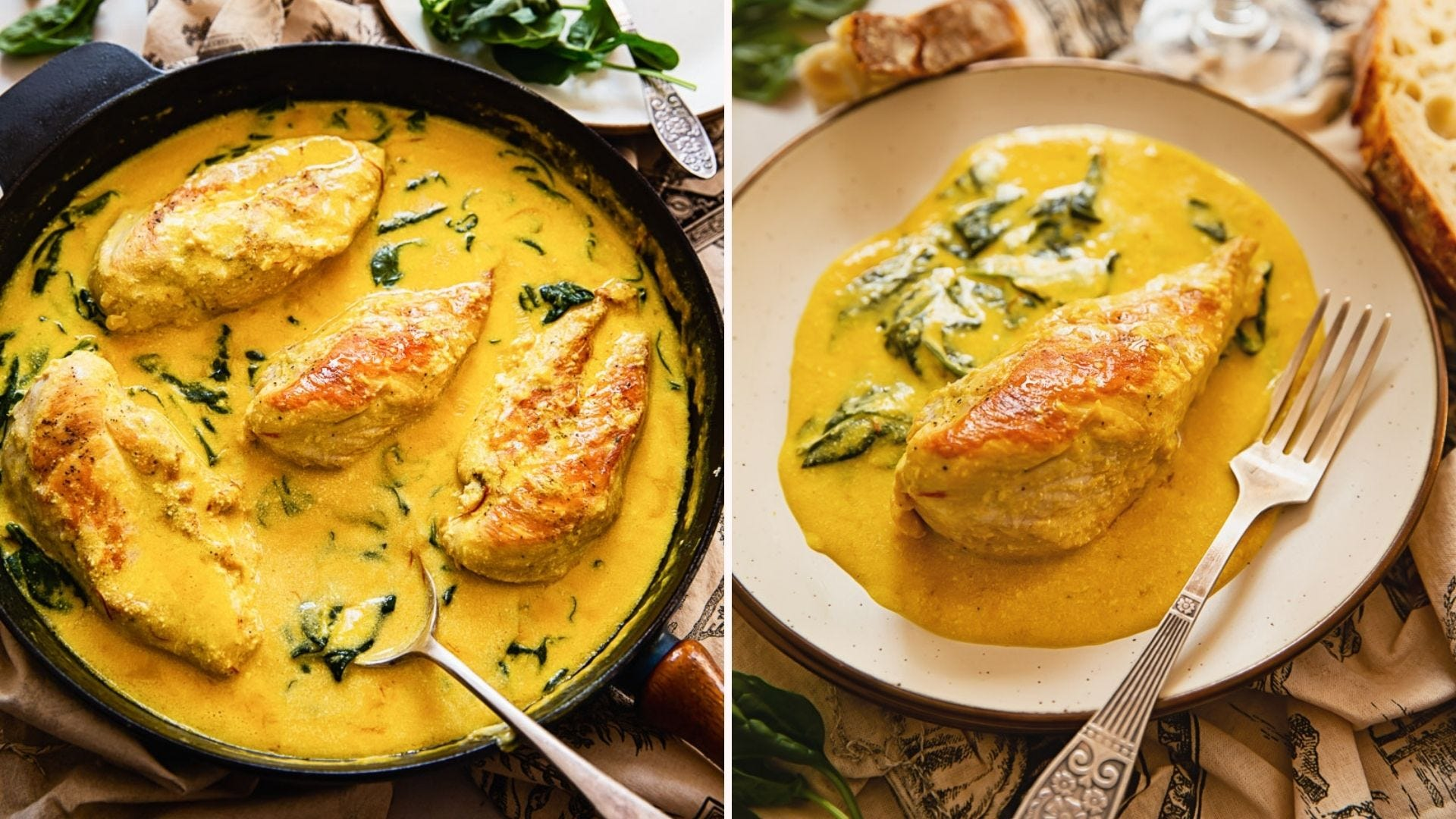 Two images displaying Tuscan chicken with a saffron cream sauce and spinach.