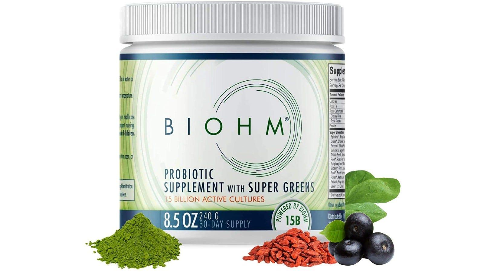 smaller container of Biohm superfood powder that has probiotics