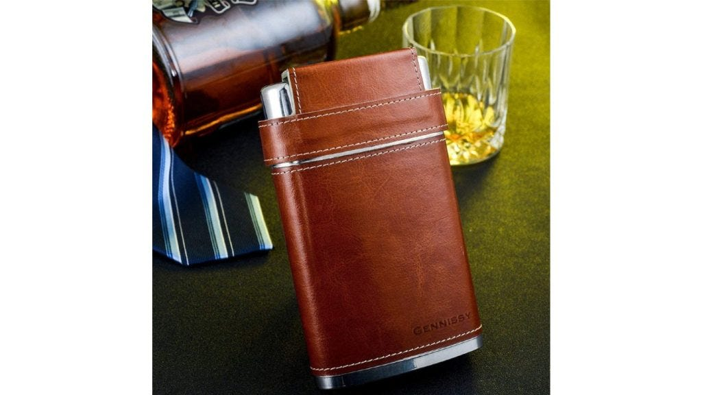This flask features a non-slip leather covering