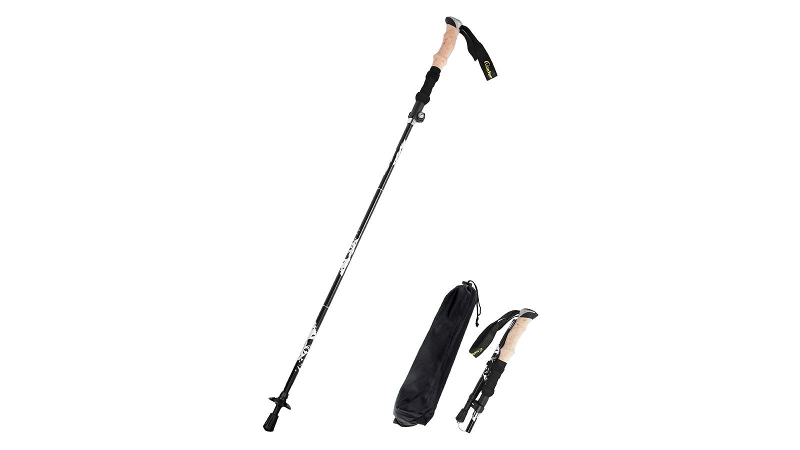a set of collapsible hiking poles with cork handles