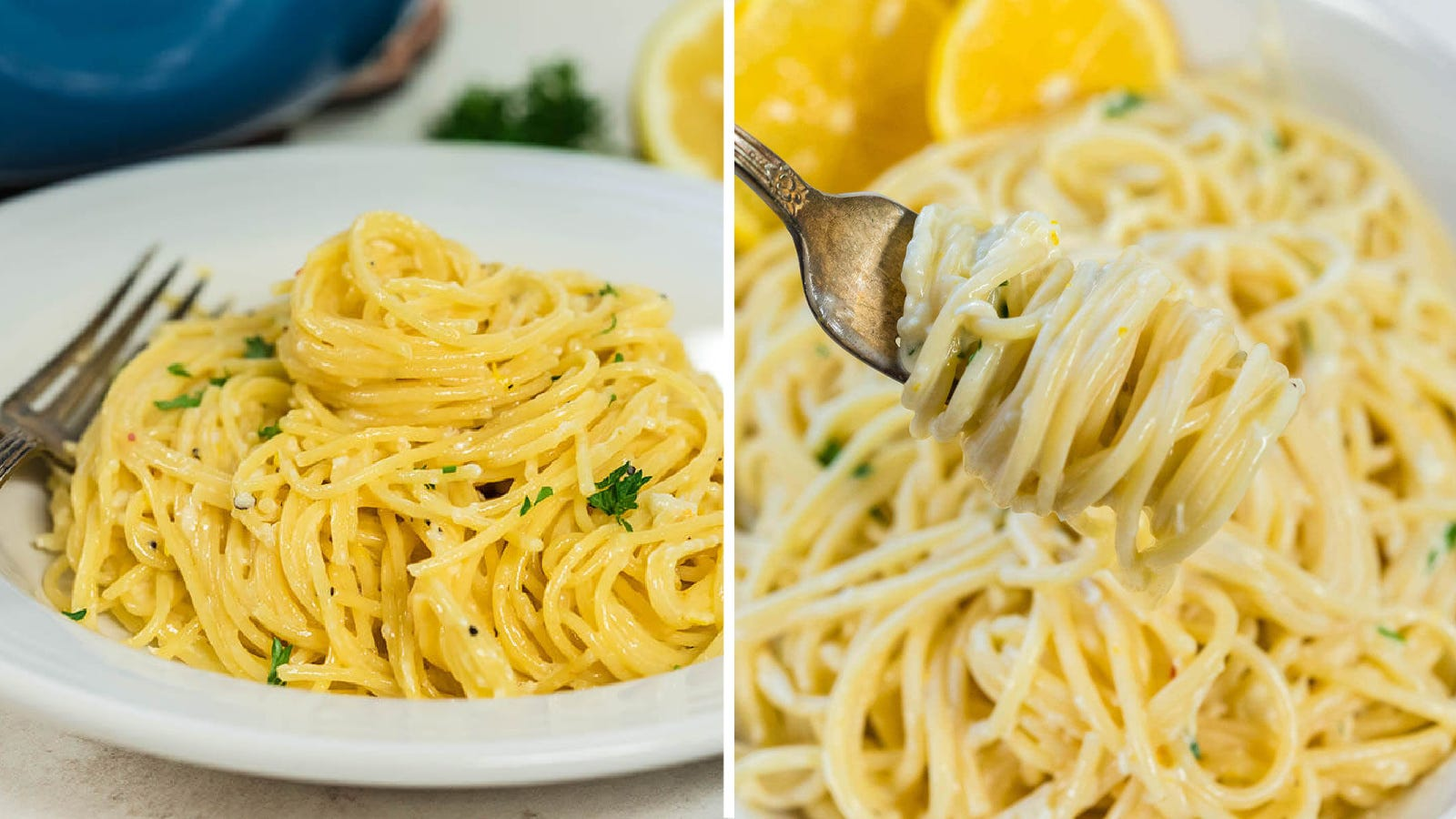 Two side by side images of creamy lemon butter pasta topped with parsley garnish.