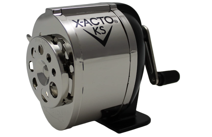 classic chrome and black manual pencil sharpener with multiple sized pencil holes