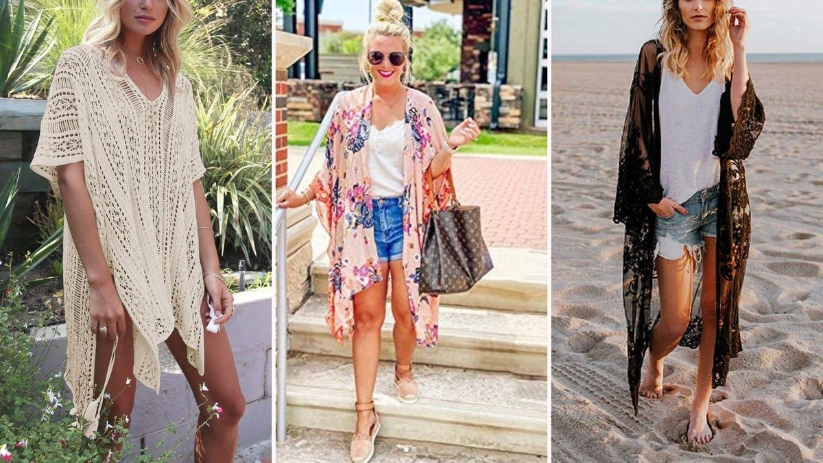 Three women wearing beach coverups