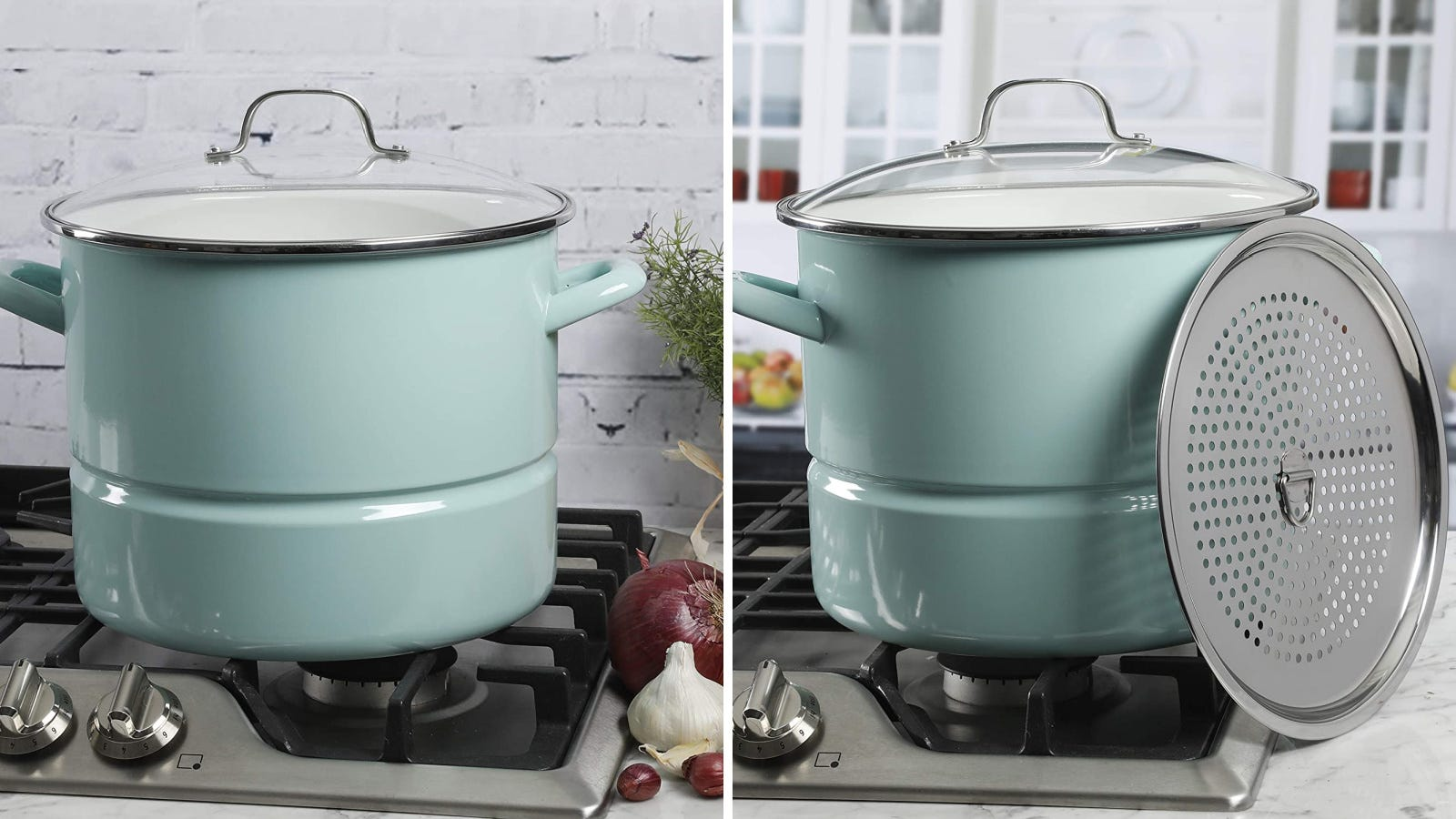 Two images of the Kenmore stockpot and steamer insert, placed on a stove top.
