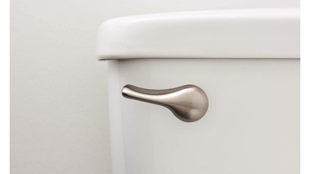 a closeup of a silver classic-shaped toilet handle