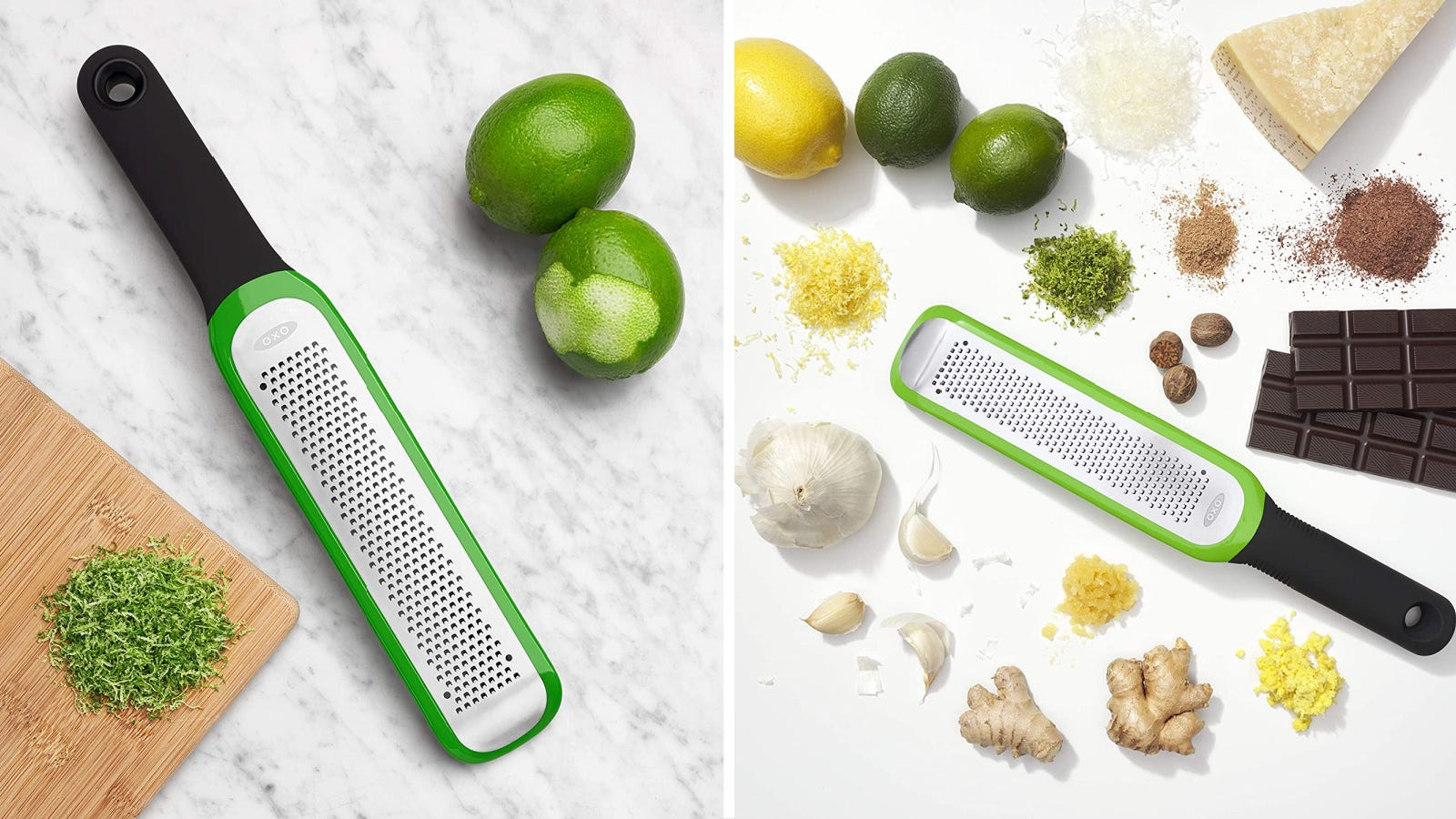 Two images of an OXO Microplane, demonstrating what the tool can do including zest lemons, cheese, chocolate, garlic and more.