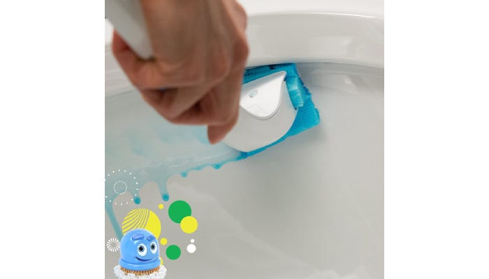 A person scrubbing the inside of their toilet.