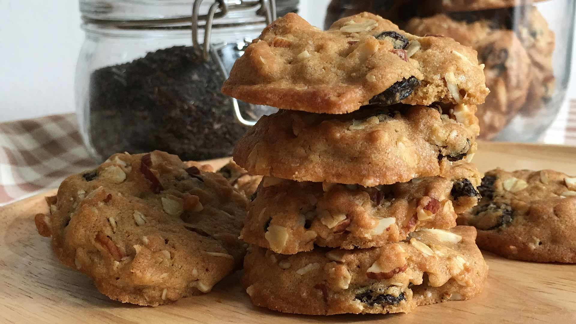 Highly textured cookies with nuts and coconut.