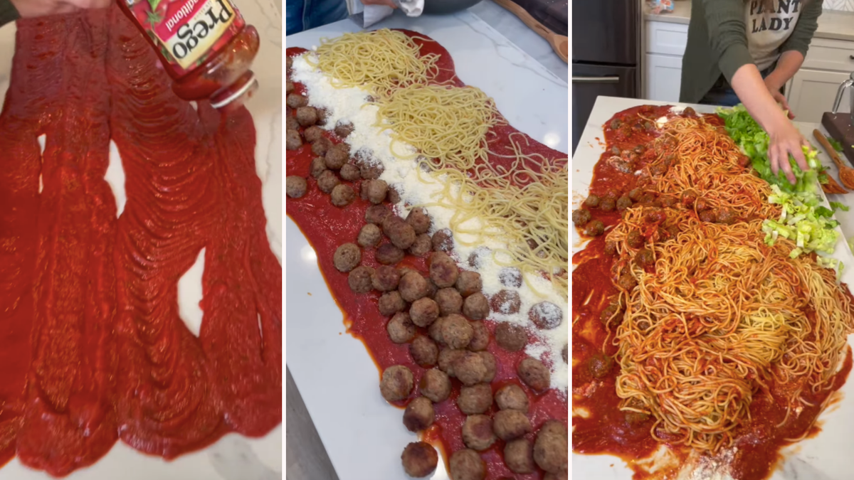 A woman dumps pasta sauce on a counter then adds the ingredients for spaghetti.