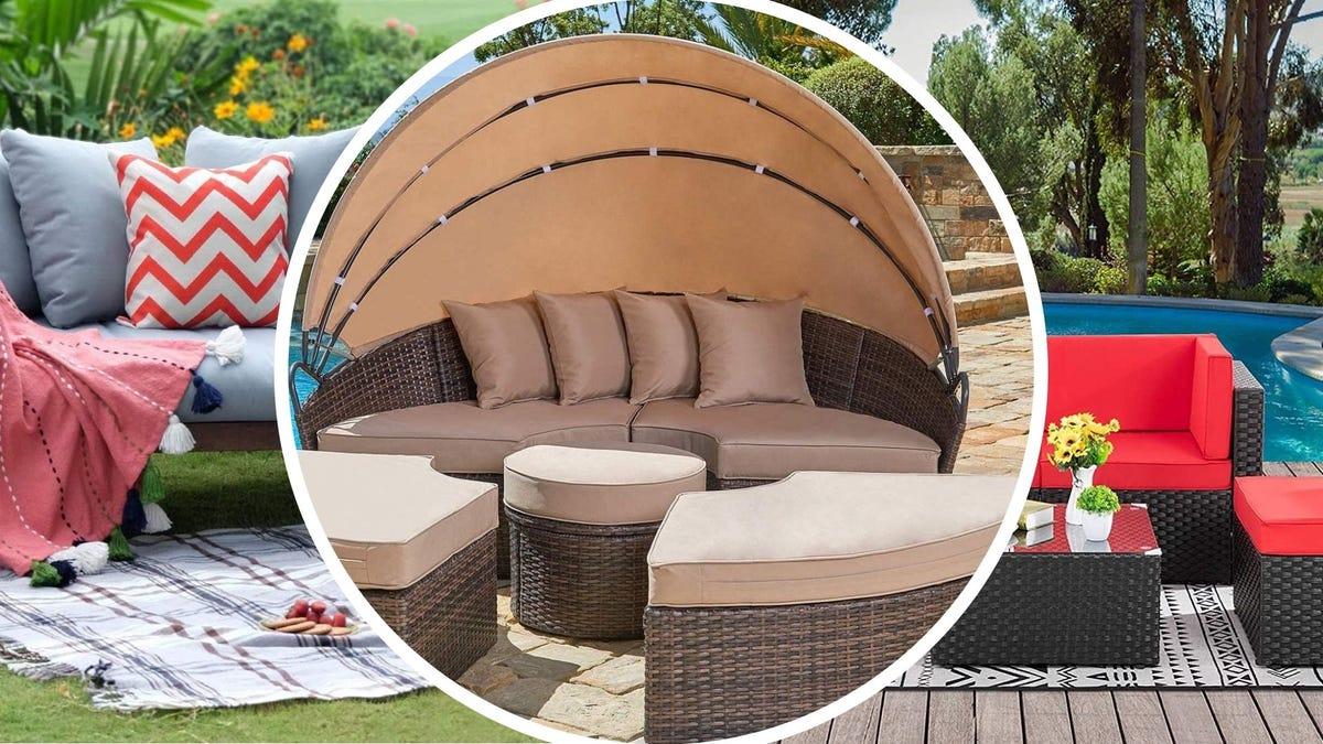 Three different outdoor sofa designs