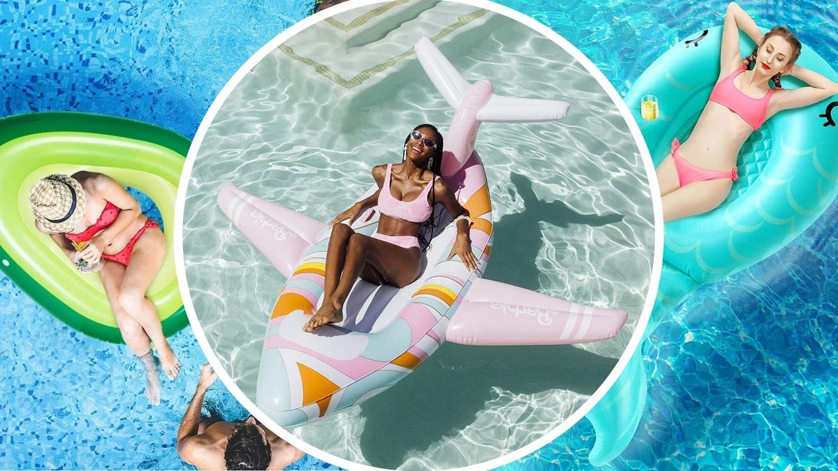 Women lounging in pool floats