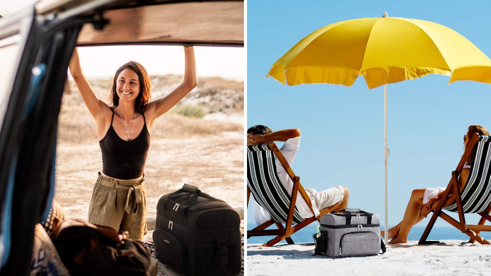 Two images: The left image features a women unpacking the back of her van with a Lifewit cooler in the trunk end, and the right image features two adults enjoying the warmth of summer at the beach with a gray Lifewit cooler alongside of them.