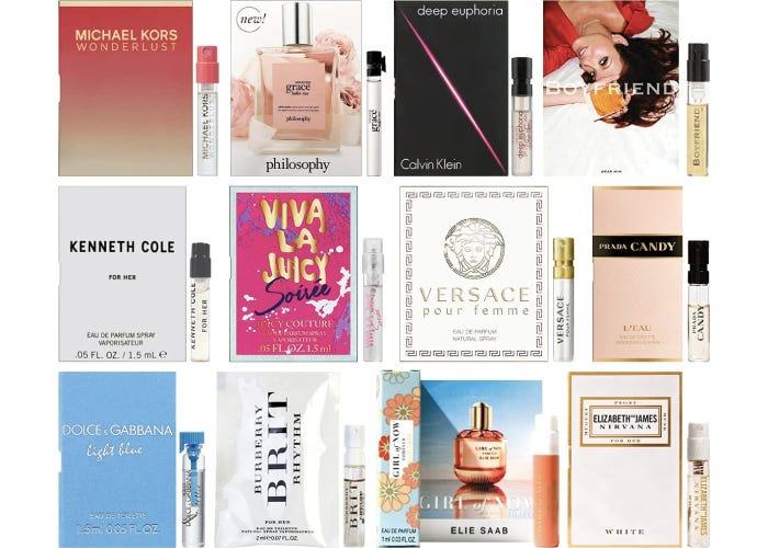 sample set of designer perfume including Michael Kors, Calvin Klein, and Versace