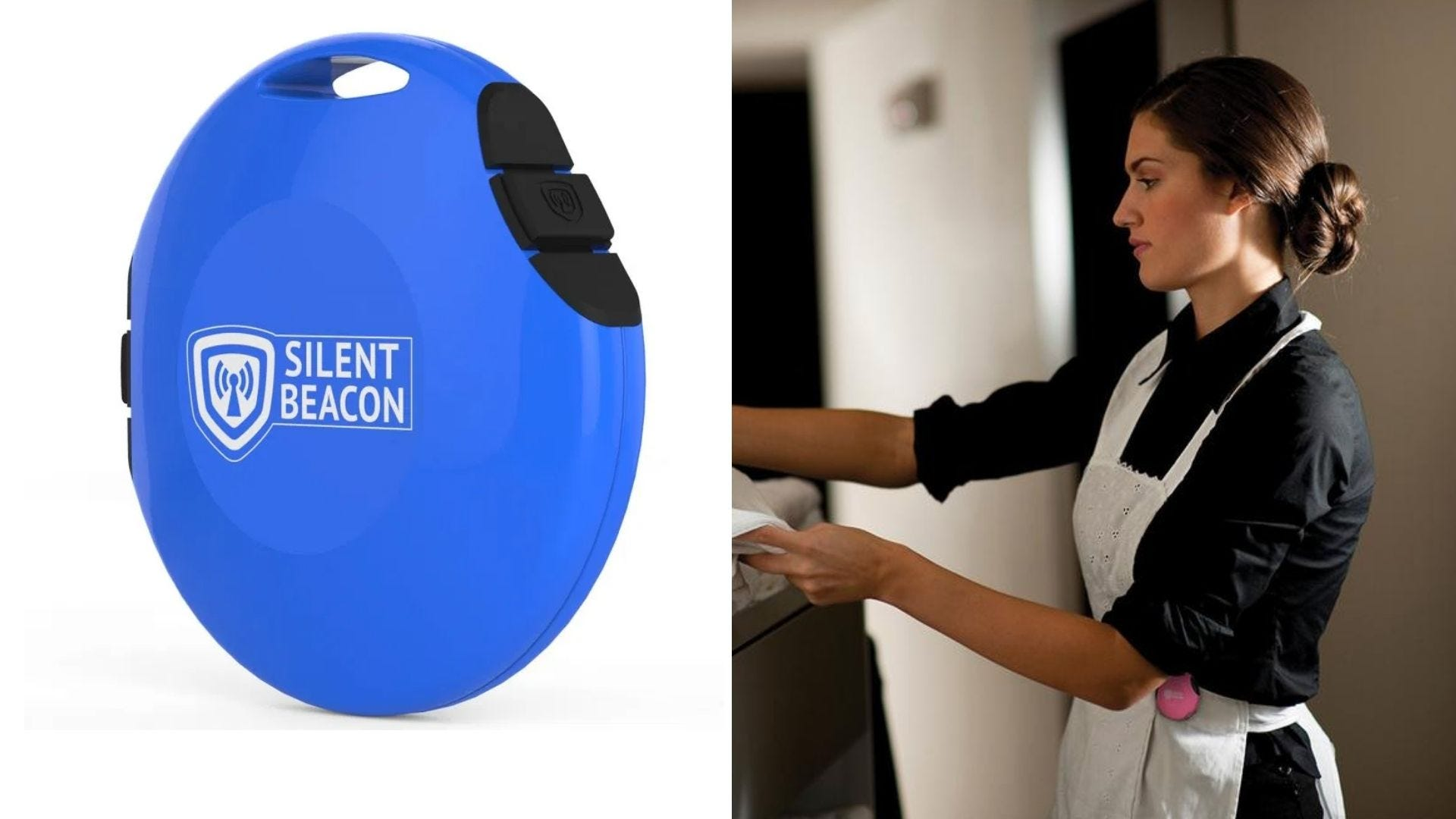 A round blue personal alarm and a woman in an apron works with the alarm on her hip