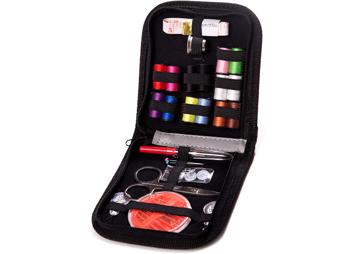 A foldable black sewing kit with tools neatly stored inside