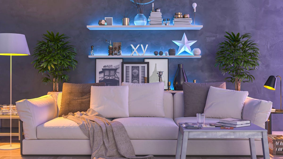 A living room lit with Vgogfly color-changing bulbs.