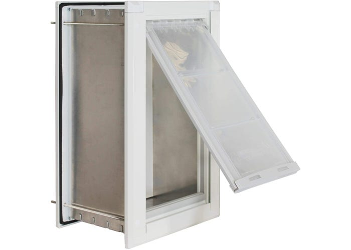 Dog door designed for in-wall installation with durable aluminum frame and great weather-resistance