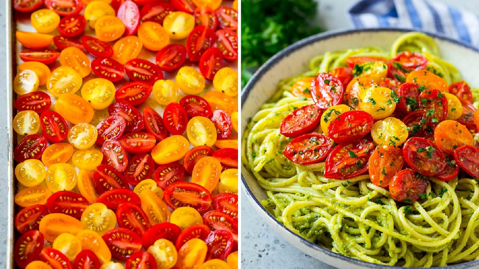 Two images: the left image is of cherry tomatoes, scattered over a large sheet pan before roasting, and the right image is of pesto spaghetti toped with roasted cherry tomatoes.