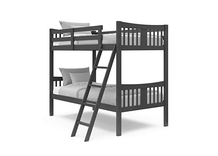 dark gray twin sized bunk beds with white sheets