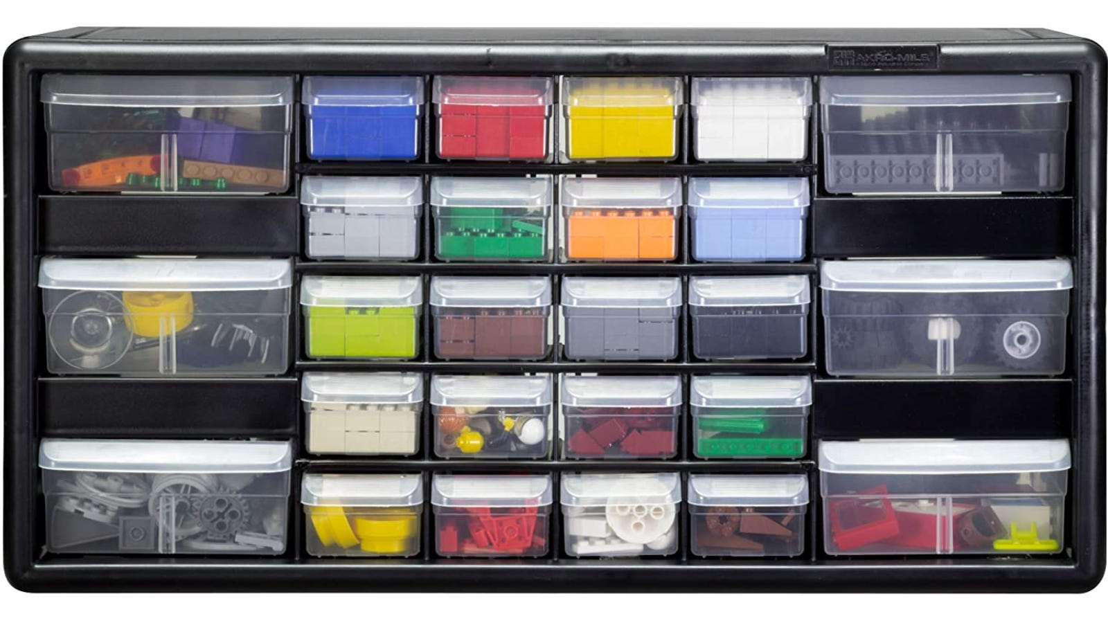 A black cabinet with 26 different transparent plastic drawers containing colorful building blocks.