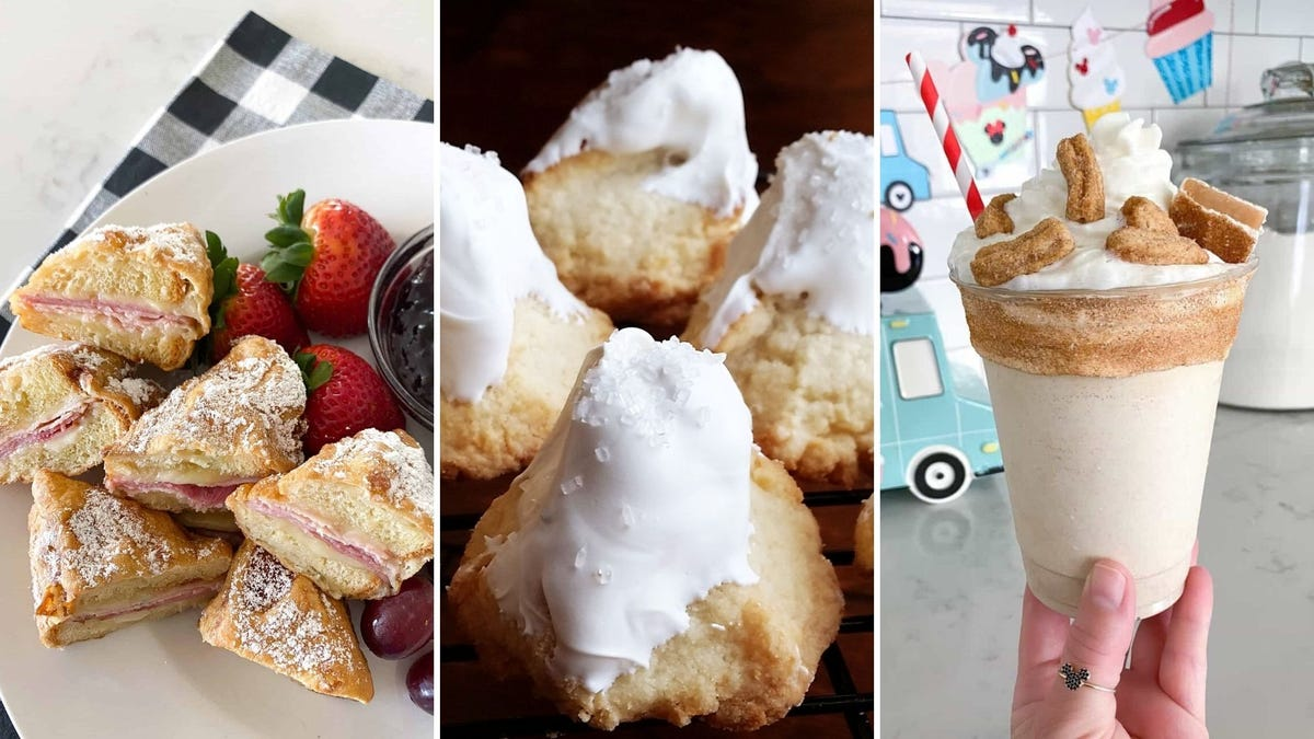 A photo of a Monte Cristo sandwich, a photo of macaroons shaped like a mountain, and a photo of a churro milkshake