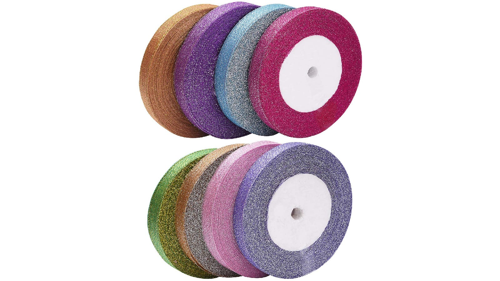 sparkly orange, purple, blue, and dark pink ribbons stacked next to each other; beneath them are green, gold, pink, and purple ribbons stacked next to each other