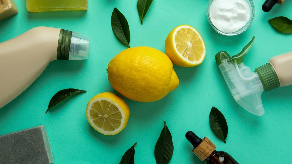 Lemons and spray bottles.