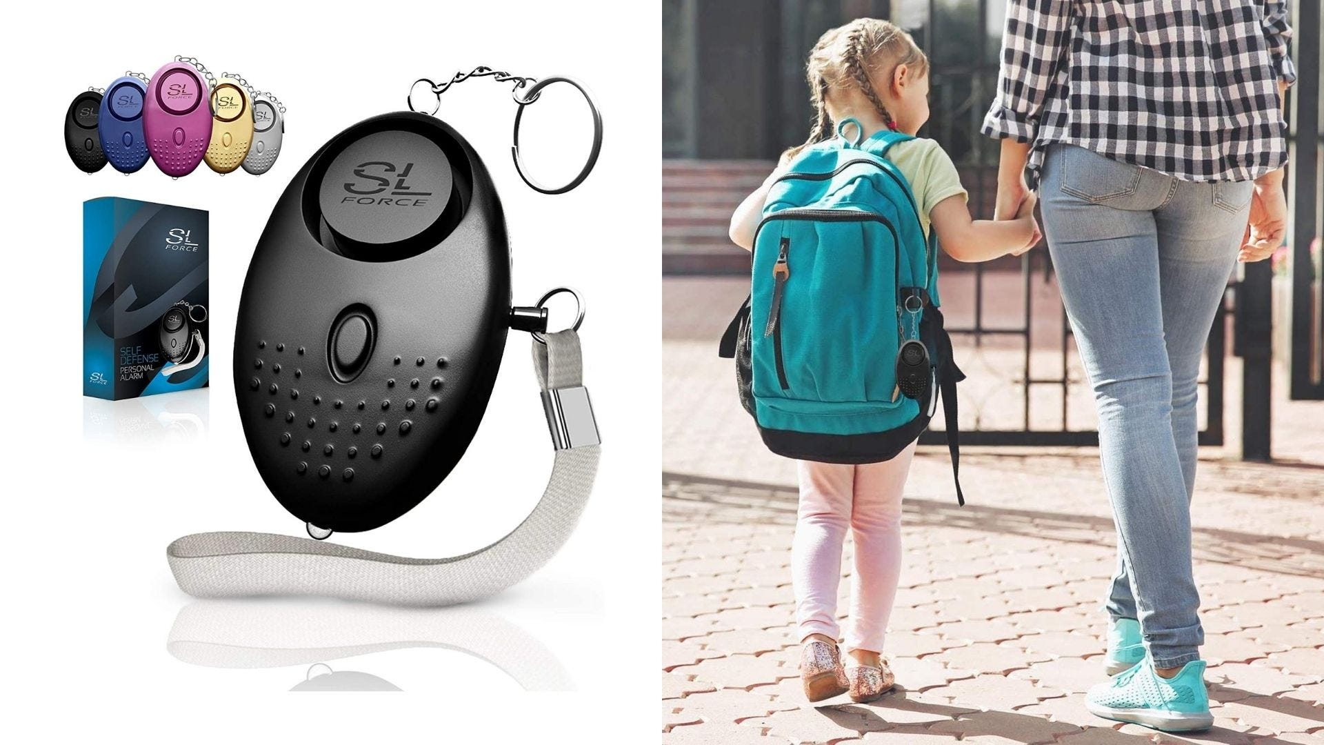 A black personal alarm and a child holds hands with their parent wearing a backpack