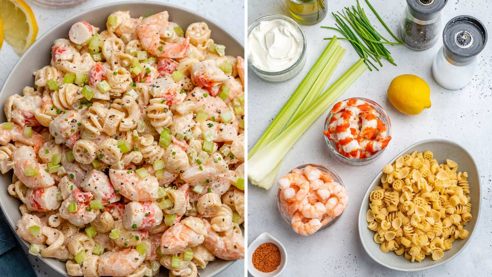 Two images: The left image is of shrimp and crab pasta salad, and the right image is of the separate ingredients used in the meal.