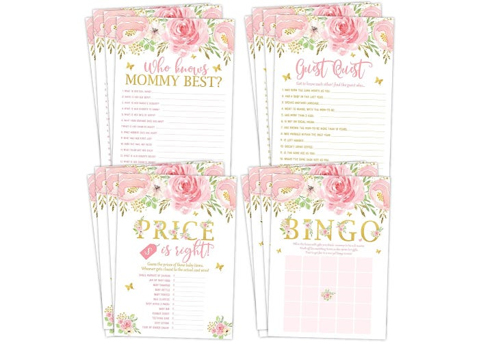 four stacks of baby shower games with matching floral designs