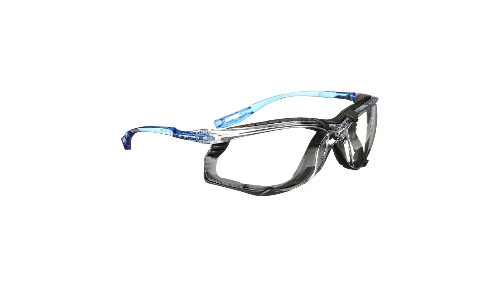clear, black, and blue safety glasses